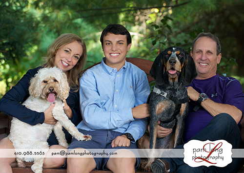 Outdoor family portraits with pets Howard County Maryland photographer