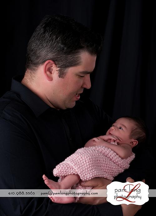 Newborn with daddy Ellicott City newborn photographer Howard County