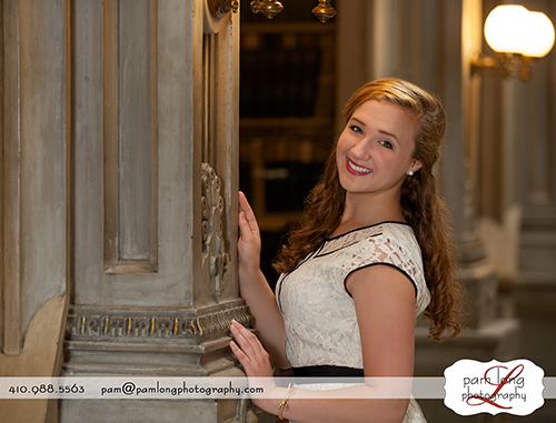 Howard County High school senior photographer in Ellicott City MD Peabody Institute