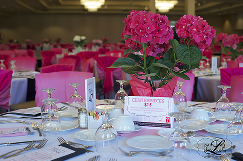 Pretty In Pink Turf Valley Table setting Event photographer Pam Long Photography