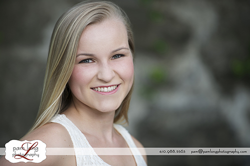 High school senior outdoor portrait photographer Ellicott City Pam Long Photography studio in Howard County