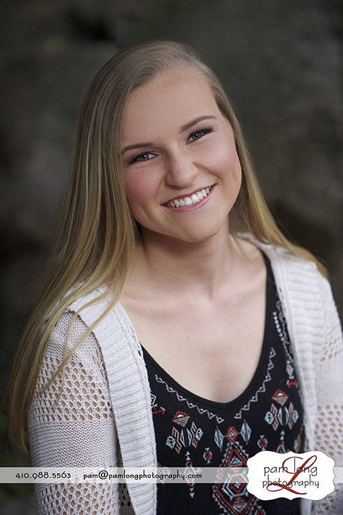 High school senior outdoor portrait photographer Ellicott City Pam Long Photography studio