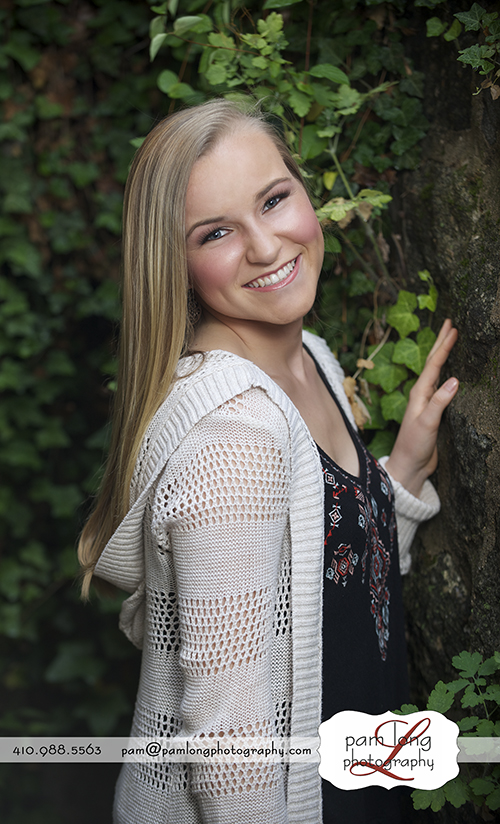 High school senior portrait photographer Howard County Pam Long Photography studio