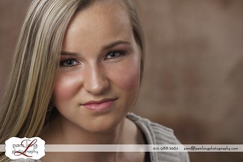 High school senior studio portrait photographer Ellicott City Pam Long Photography studio