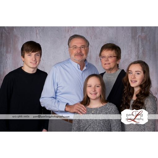 Family photographer with grandparents in Howard County Maryland Pam Long Photography studio Ellicott City MD