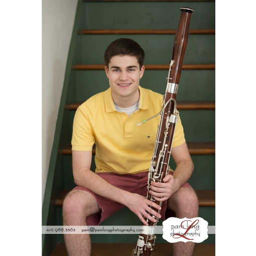 Howard County High School Senior musician bassoon photographer Pam Long Photography studio Ellicott City MD