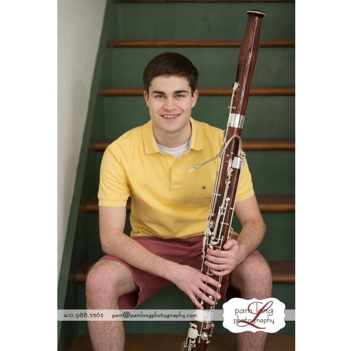 Howard County High School Senior musician bassoon photographer Pam Long Photography studio Ellicott City MD